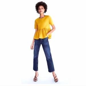 Zara Mustard Yellow Peplum Top